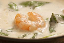 Creamy shrimp and spinach soup.