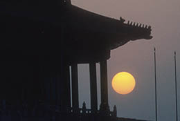 Sunset and building in the Forbidden City, Beijing, China.
