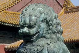 Statue of a lion in the Forbidden City, Beijing, China.