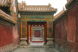Corridor in the Forbidden City, Beijing, China.