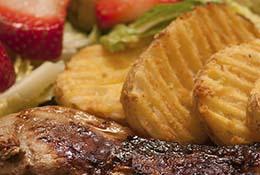 Spice rub steak and potatoes.