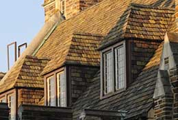 A dormered roof at Duke University, Durham, North Carolina.