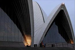 The Sydney, Australia, opera house at sunset.