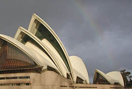 The Sydney Opera House with a rainbow, Sydney, Australia.