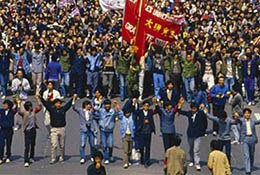 Pro-democracy demonstration in Beijing, China, 1989.