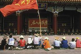 Pro-democracy sit-in in front of Zhongnanhai communist party headquarters, Beijing, China, 1989.