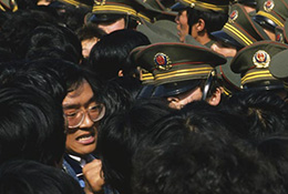 Protesters and police in the 1989 Tiananmen democracy movement, 1989.