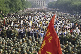 Troops surround protesters near Tiananmen Square on June 3, 1989 before the Tiananmen crackdown.