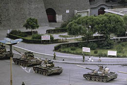 Tanks in Beijing, China, after the Tiananmen crackdown, 1989.