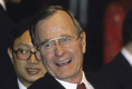 U.S. President George Bush at a banquet with Chinese Premier Li Peng, Beijing, China, 1989.