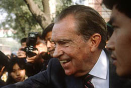Former U.S. President Richard Nixon greeting people in Beijing, China.
