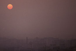Pollution across the Pearl River, Guangzhou, China.