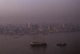 Air pollution in the Pearl River area, Guangdong, China.
