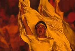 Performers at the opening ceremony of the Asian Games, Beijing, China.