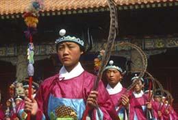A Confucius birthday reenactment in Qufu, China.