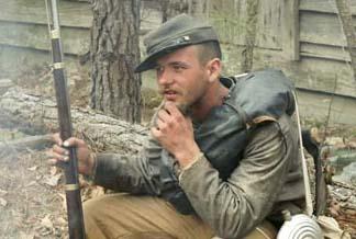 Confederate reenactor at a reenactment of the Battle of Bentonville, North Carolina.