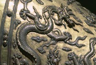 Saddle on a bronze statue, Forbidden City, Beijing, China.