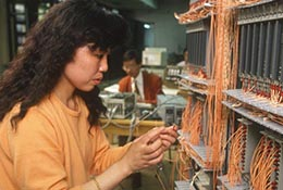 A worker in a factory in Shanghai, China.