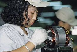 A factory worker in China.