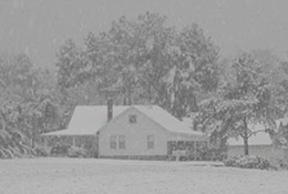 Farm blanketed in snow, Apex, North Carolina.