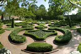 Composite panorama of the garden at Tryon Palace, New Bern, North Carolina.