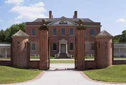 Composite panorama of Tryon Palace, New Bern, North Carolina.