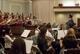 Composite panorama of a Messiah performance in Apex, North Carolina.