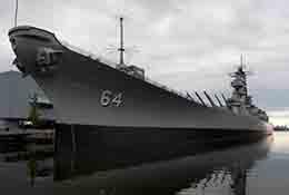 Composite panorama of a World War II warship in Norfolk, Virginia.