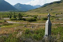 Cemetery and mountains, Crested Butte, Colorado.