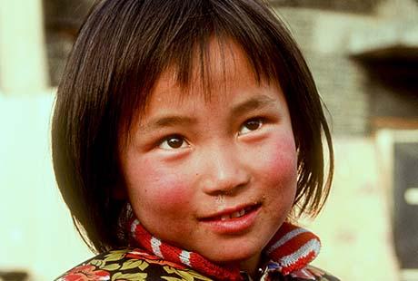 Little girl in a village near Beijing, China.