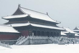 Snow in the Forbidden City, Beijing, China.