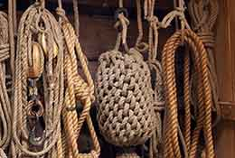 Ropes on replica colonial ship in St. Mary's City, Maryland.