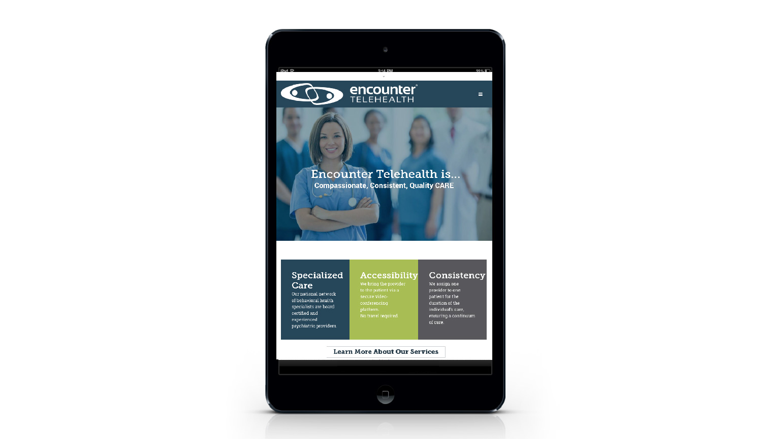 Encounter Telehealth tablet view
