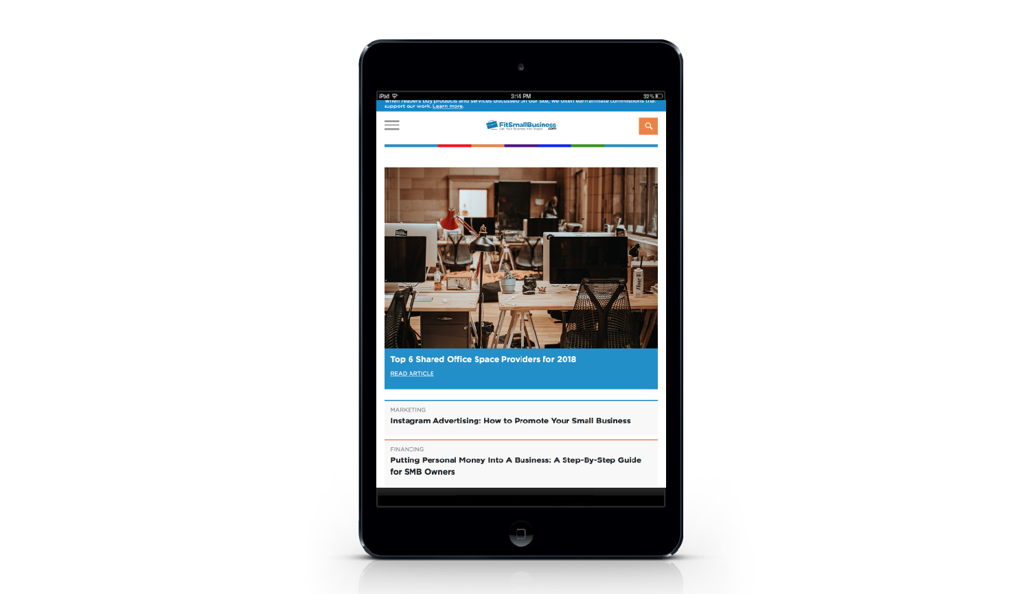 Fit Small Business tablet view
