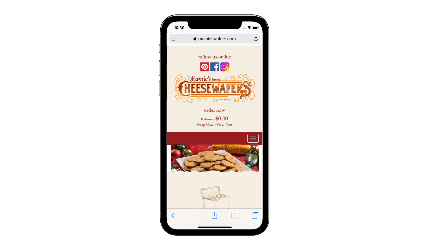 Mamie's Wafers phone view
