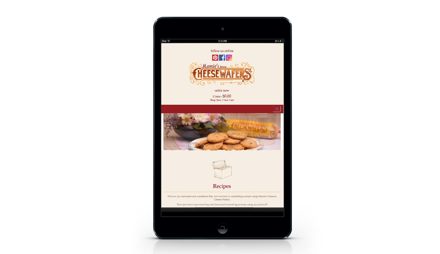 Mamie's Wafers tablet view