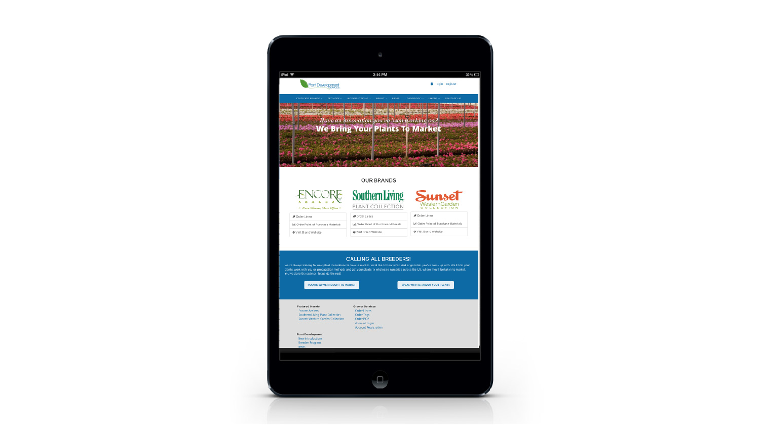 Plant Development Services tablet view
