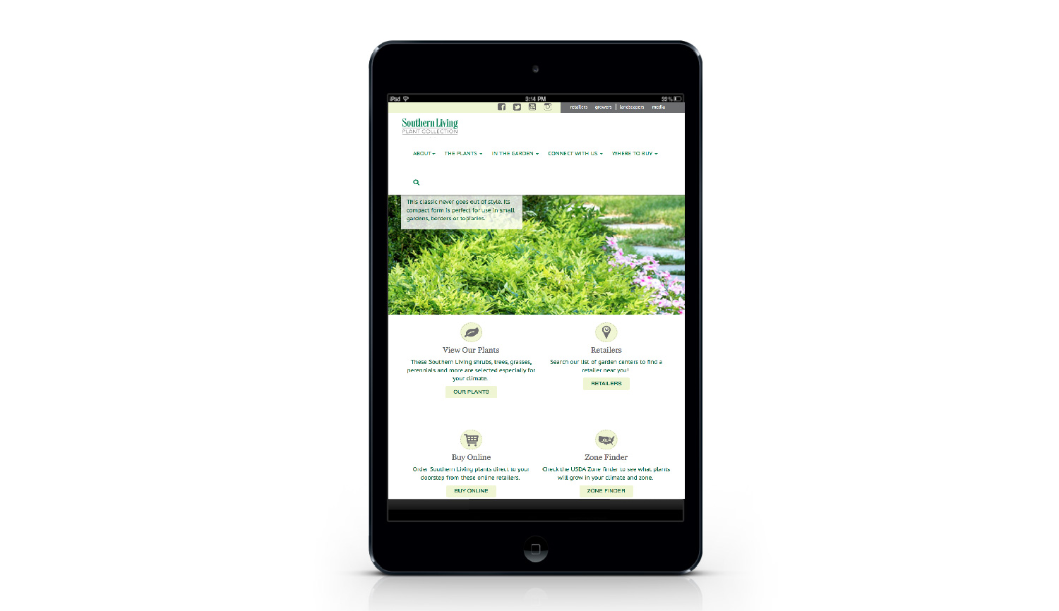 Southern Living Plant Collection tablet view