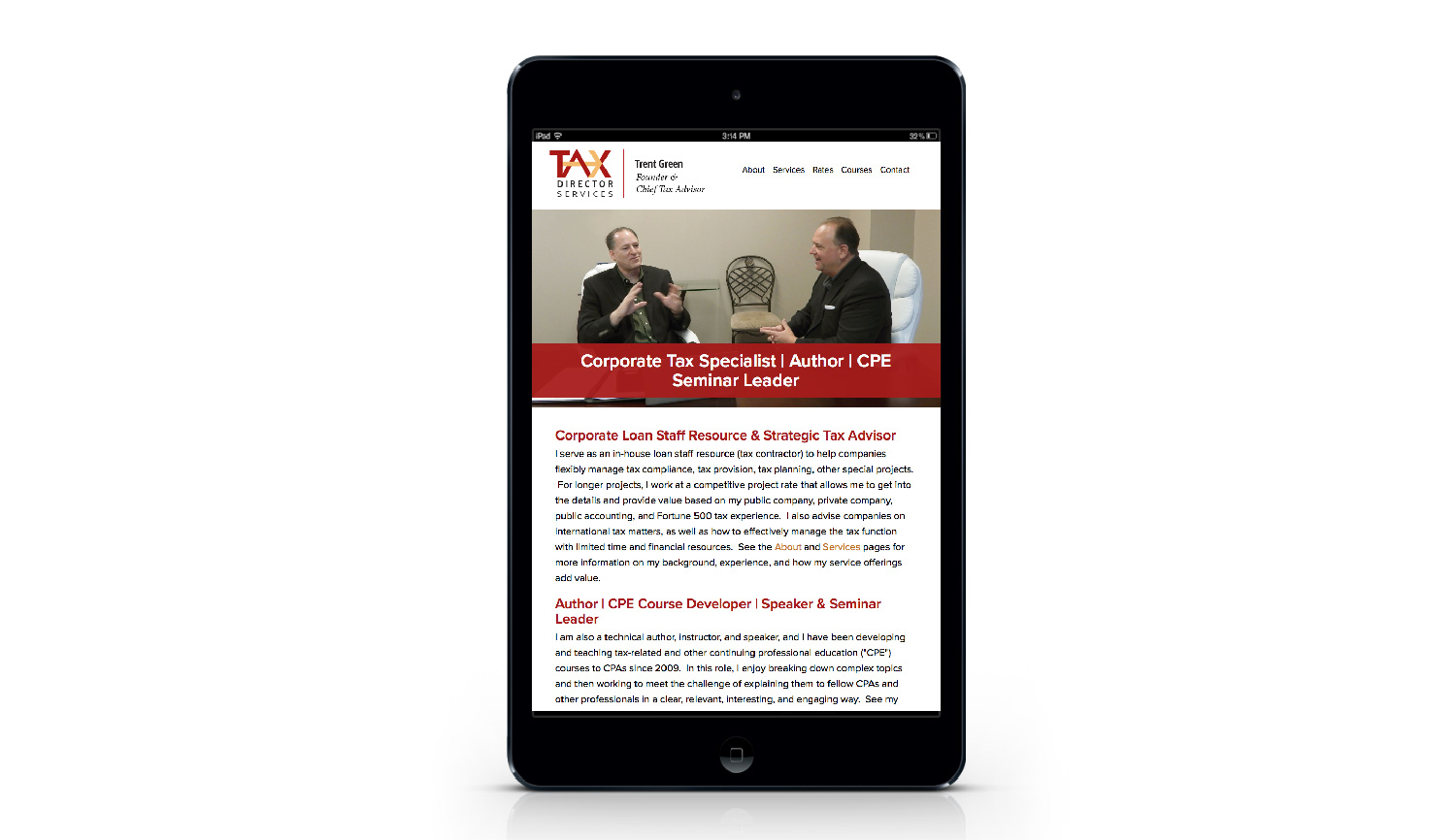 Tax Director Services tablet view